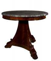 A Mahogany Empire Center Table with Marble Top