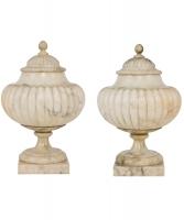 A Pair of Italian Albaster Lidded Vases