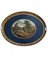 A Lacquered Oval Tin-Plate Tray