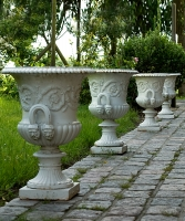 "Set of Four Cast Iron Campana ""De Medici"" Garden Vases"