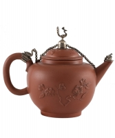 A Red Earthenware Teapot with Silver Mounts by Ary de Milde