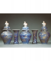 A Rare Five Piece Blue Ground Imari Ganiture