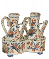 An Oil and Vinegar Set in Polychrome Dutch Delftware