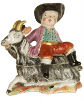 Butter Dish with Boy on A Billy Goat in Dutch Delftware