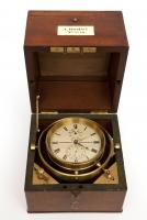 Ned. marine chronometer gesigneerd en genummerd  Andreas Hohwü Amsterdam, No 334, 56 uurs, circa 1860.