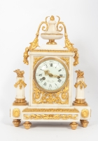 Attractive Louis XVI White Marble Mantel Clock with Ormolu Mounts, circa 1780