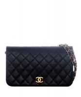 Chanel Black Leather Quilted Full Flap Bag - Chanel