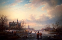Winter landscape with ice skaters -left castle