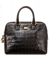 Gianfranco Ferre Black Croc Embossed Leather Handbag