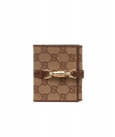 Gucci Monogram Piston Lock Compact Wallet