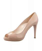 Prada Nude Patent Leather Peep Toe Platform Pumps - Prada