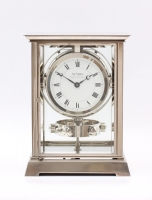 A French nickel plated atmos clock, J.L. Reutter, circa 1930