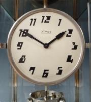Art Deco Atmos clock, high model, nickel, J. L. Reutter no 3043, France ca. 1930.