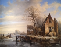 Winterlandscape, frozen river, horse, figures, right side house