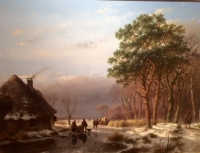 Winter, left side a house, river in the centre, ice skaters