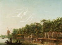 The river Vecht with elegant company in a rowing boat - Isaac Ouwater
