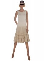 Blumarine  Sandcolor Lace and Cotton Ruffle Skirt and Top - Blumarine