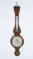 A good English mahogany inlaid wheelbarometer by L. Giannal Salop, circa 1820.