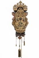 Beautiful Folk Art Painted 18th Century Dutch Striking Friesland Wall Clock