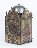 A very early German late 16th century painted chamber clock, circa 1580