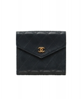 Chanel Black Leather Quilted Bifold Wallet