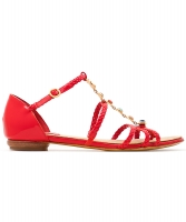 Red Chanel Patent Leather Braided Gripoix Stone Sandals - Chanel