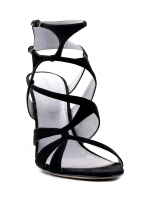 Sergio Rossi 'Scarpe Donna' Black Suede Multi Strap High Heel Sandal