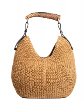 Yves Saint Laurent Woven Straw Mombasa Horn Hobo Bag