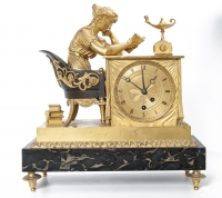 A very popular, untouched library empire ormolu mantel clock so called