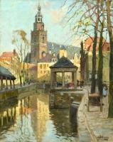 Stads gezicht op Gouda met de vis en korenbank - Bernardus Petrus ( Ben ) Viegers