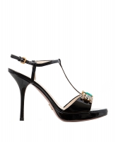 Prada Bejeweled Black Patent Leather T-Strap Sandal