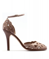 Marc Jacobs Nude Python Leather Ankle Strap Pumps