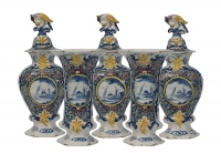 A Five-Piece Polychrome Delft Garniture