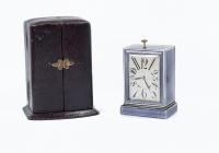 A very nice, elegant silver enamelled Art Deco traveling clock  circa 1920