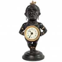 Decorative Polychrome French White Metal Time Piece Clock Figure, circa 1880