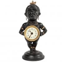 Decorative Polychrome French White Metal Time Piece Clock Figure, circa 1880