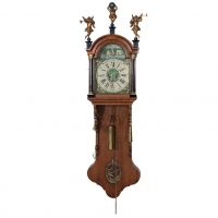 A small and attractive Dutch Frisian stained wall clock 'kantoortje' circa 1830