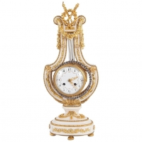 Napoleon III Lyra Shaped Mental Clock with Osculating Pendulum