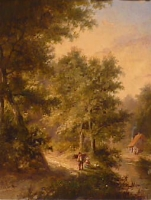 Travellers in a landscape with trees