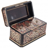 Nice Boulle Inlaid, Monogrammed Tea Caddy, French, circa 1860