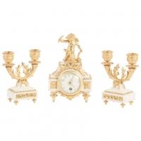 Nice Decorative Miniature Three-Piece White Marble and Ormolu Clock Set
