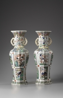 A Large Pair of Lobed Baluster Vases