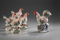 An Imari Set of a Rooster and four Hens
