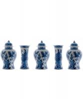 A Five Piece Blue and White Dutch Delft Garniture
