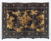 Japanese Six-fold Lacquered Screen
