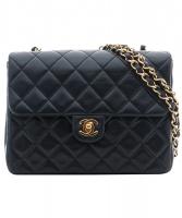 Chanel Black Leather Quilted Shoulder Bag - Chanel