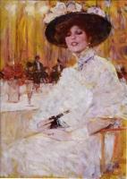 Lady in white in a fancy restaurant