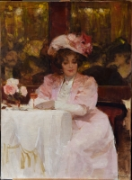 Café scene, Elegante en rose, avec verre Rosé