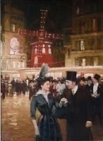 Paris, Elegant couple near the Moulin Rouge