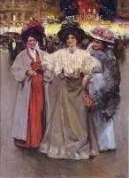 Three elegant ladies in Paris, Moulin Rouge